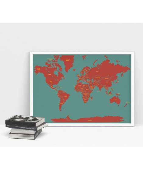 Printed world map