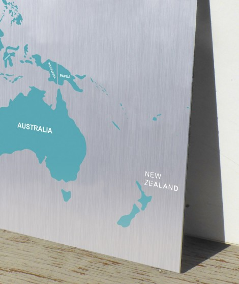 Aluminium Printed world map