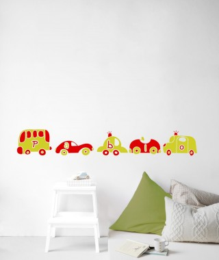 mural infantil coches